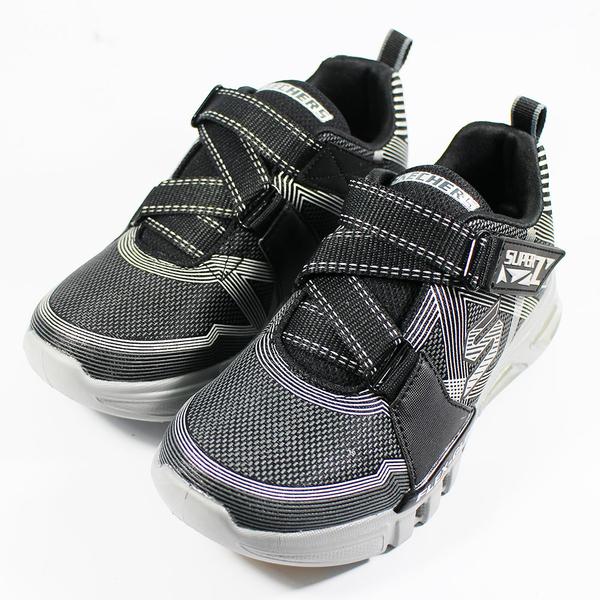 21CM~][陽光樂活] (A9) SKECHERS 男童系列 燈鞋 運動鞋 FLEX GLOW - 90543LBKCC 黑