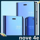 HUAWEI nova 4e 電鍍半透保護套 鏡面側翻皮套 免翻蓋接聽 原裝同款 支架 手機套 手機殼 華為