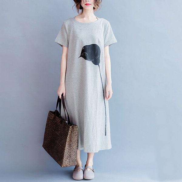 洋裝 - K17396 花朵灰長洋裝【L-XL】MEET中大尺碼