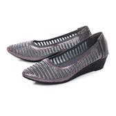 TAS異材質拼接透膚水鑽楔型娃娃鞋-低調灰