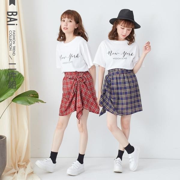套裝 英字T恤+側抓皺綁帶格紋短裙兩件式組合-BAi白媽媽【190483】