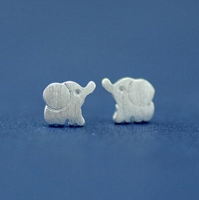 925純銀耳環(耳針式)-生日情人節禮物時尚熱銷簡約可愛大象女耳飾73ag36[巴黎精品]