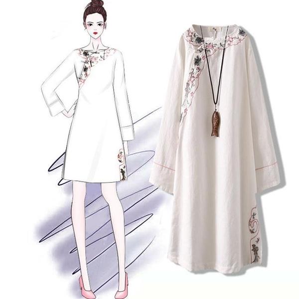 中國風洋裝 春夏新款時尚復古棉麻刺繡仙女裙中國風大碼寬松禪意連衣裙女 快速出貨