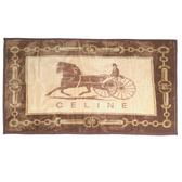 CELINE經典馬車鎖鏈LOGO保暖絨毛大蓋毯(駝色)084101