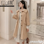 巨棉秋季套裝女時尚新款英倫風小個子過膝風衣外套波點洋裝 時尚