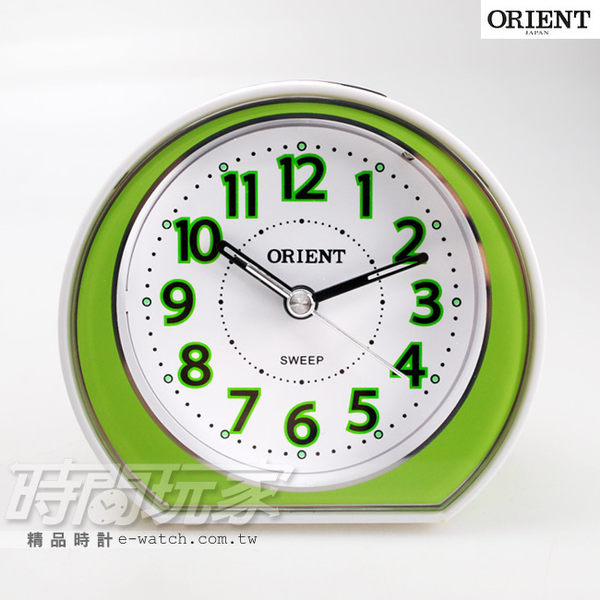 ORIENT 東方錶 連續秒針 走時秒針靜音 簡約雙色 電子音 數字鬧鈴 鬧鐘 貪睡 AQ-346綠