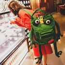 個性青蛙原宿風大容量帆布後背包校園書包女