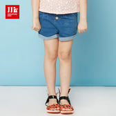 JJLKIDS 女童 經典開扣反摺造型牛仔短褲(牛仔藍)