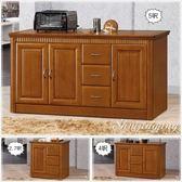 【水晶晶家具/傢俱首選】楠檜5呎柚木色實木三門三抽餐碗櫃 CX8642-1