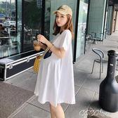 孕婦洋裝 短袖連身裙中長款印花夏季潮媽時尚上衣孕婦裙子 coco衣巷
