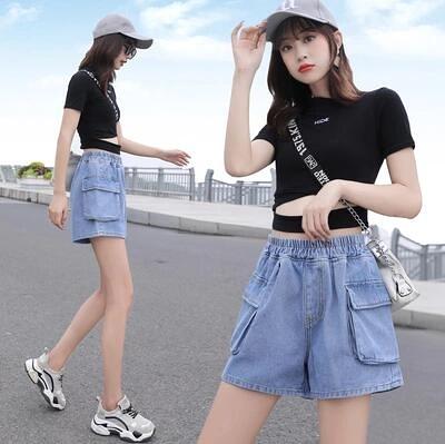 M-5XL牛仔短褲~牛仔短褲女牛仔短褲女高腰寬松大口袋6839.F039日韓屋