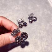 耳環後掛式蝴蝶結水鑽鋯石耳釘女時尚氣質簡約耳環耳墜配飾品
