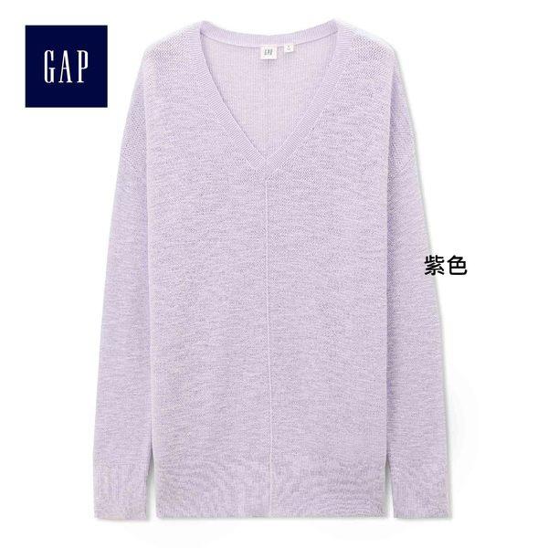 Gap女裝 V領套頭針織長款上衣 333182-紫色