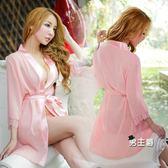日系和服媚火性感女雪紡誘惑睡袍裙夏中袖透明浴袍情趣日系和服制服誘惑