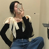絲絨襯衫女露肩長袖內搭襯衣2021春秋新款設計感小眾洋氣黑色上衣 韓國時尚週