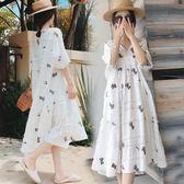 米蘭 孕婦夏裝洋裝2019新款夏天中長款長裙子時尚兩件套孕婦套裝潮媽
