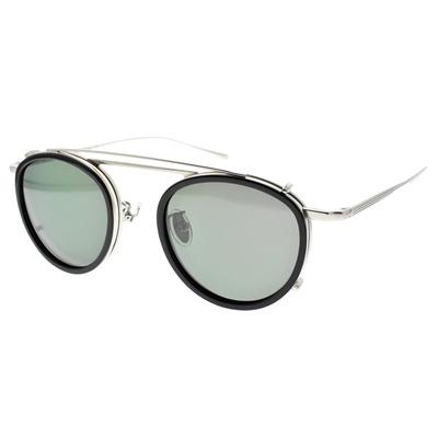 NINE ACCORD 光學眼鏡 TI OVERLAP C2 (霧銀 黑-霧銀-綠 偏光鏡片) 復古細圓框 附前掛式墨鏡 鈦眼鏡