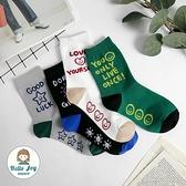【正韓直送】韓國襪子 腳底小細節笑臉中筒襪 英文字微笑 長襪 哈囉喬伊 A193
