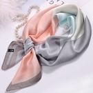 春秋百搭絲巾女洋氣時尚真絲小長條桑蠶絲方巾中年媽媽秋冬款圍巾一米