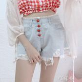 夏季女裝韓版學生寬鬆做舊牛仔毛邊復古高腰短褲熱褲 盯目家