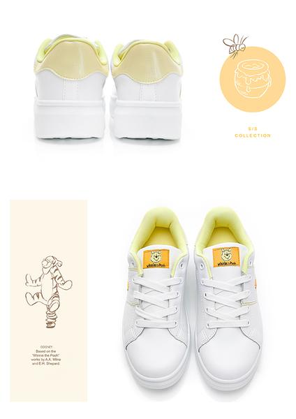 DISNEY 淘氣經典人物電繡休閒鞋-白黃-DW5603