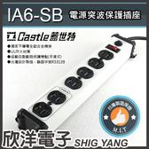 新版上市 Castle 蓋世特 鋁合金防火防雷電源突波保護電腦電源延長線 3孔(3P)6插座 1.8公尺(IA6-SB)白色