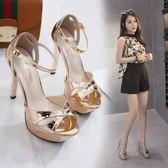 12cm性感涼鞋細跟超高跟夜店顯瘦防水臺涼鞋