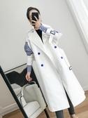 風衣女中長款2018新款春秋季韓版假兩件拼接大碼氣質白色chic外套
