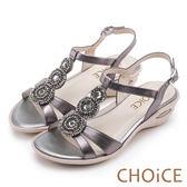 CHOiCE 異國休閒舒適 復古寶石鑽飾造型氣墊涼鞋-灰色
