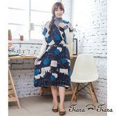 【Tiara Tiara】激安 水彩塗鴉點點無袖層疊洋裝(藍)