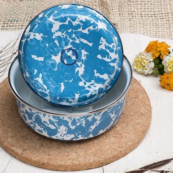 Wind & Whisper 南洋琺瑯烤盤/戶外湯碗2入(潑墨藍天)
