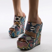 Women Sandals 歐美外貿大碼個性彩色蛇紋高跟厚底楔形涼拖鞋女  一米陽光