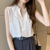 大码工字型背心设计感小众轻熟无袖上衣女2021新款百搭打底白衬衣