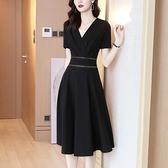 洋裝`連身裙女夏法式新款中長款V領短袖黑色氣質赫本風小黑裙夏裝H456-C胖妞衣櫥