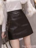 A字裙小皮裙女2020新款氣質高腰a字裙包臀短裙子秋冬黑色皮裙半身裙春季上新