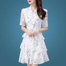 夏天洋裝/連衣裙新款裙子遮肚波點碎花蛋糕裙雪紡裙2021短袖印花 快速出貨