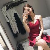 夏季新款時尚氣質顯瘦禮服性感夜店女裝潮露背吊帶抹胸洋裝   芊惠衣屋