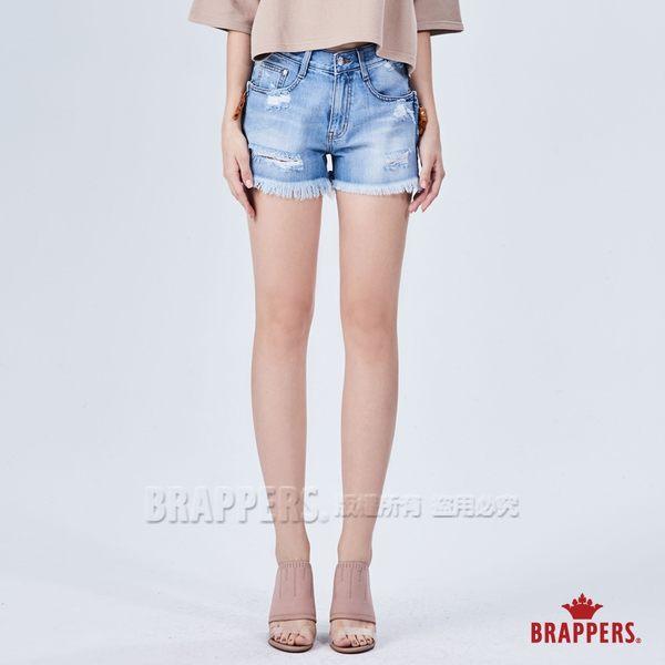 BRAPPERS 女款 Boy friend系列-拉鍊造型刷破短褲-淺藍