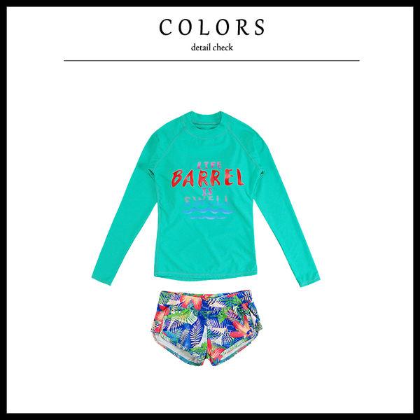 Melek 比基尼 (共1色) 現貨【A01170415-03-M~L】女泳衣綠膠衣+花3角褲 泳裝套裝/浮淺/淺水