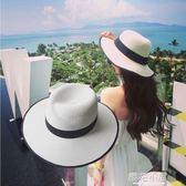 夏天大帽檐m草帽禮帽女士夏季韓版太陽帽沙灘遮陽白色爵士帽子潮『櫻花小屋』