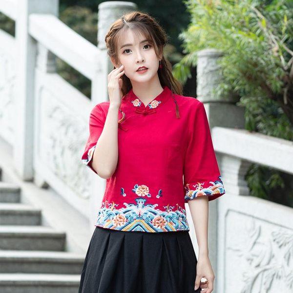 民族風文藝復古中國風上衣 中式盤扣繡花襯衫修身上衣女有內襯