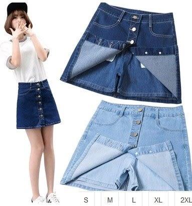 EASON SHOP(GU1083)水洗丹寧排扣純色牛仔短裙褲裙S-2XL牛仔裙半身裙褲防走光a字包臀褲裙內襯短裙子