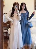 秋冬季2020年新款法式復古超仙長袖網紗裙子女收腰洋裝顯瘦氣質 korea時尚記