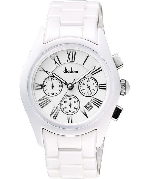 Diadem 黛亞登羅馬三眼計時陶瓷腕錶-白 2D1407-621S-W