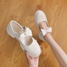 粗跟鞋 粗跟溫柔鞋子女2021年新款春夏季女鞋百搭淺口中跟單鞋仙女小皮鞋