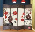 屏風隔斷時尚實木座屏防水布藝屏風客廳臥室玄關中式現代簡約折屏6