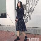 雪紡洋裝夏季韓版氣質小清新領口繫帶中長款...
