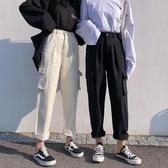 女裝韓版寬鬆工裝大口袋直筒褲高腰寬管褲牛仔褲長褲學生褲子