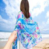 女夏天海邊防曬沙灘巾百搭雪紡絲巾披肩兩用旅游紗巾【韓衣舍】
