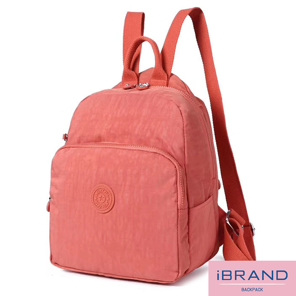 【i Brand】輕盈防潑水素色大口袋尼龍後背包-蜜桃橘 MDS-8502-粉